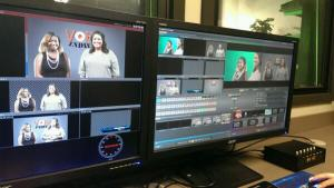 Students Dynasty Tennison and Caroline Russell appear on the screen as hosts for VOD Indie.