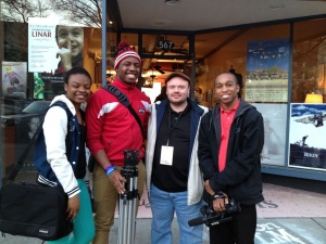 Valdosta State Students prepare to interview filmmakers at the Macon Film Festival
